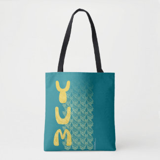 YUM Breakfast Damask Pattern Art Tote Bag