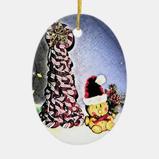 YUM YUM, CANDY CANE CHRISTMAS TREE CERAMIC OVAL ORNAMENT