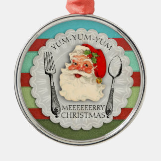 Yum yum yum Santa fork spoon Christmas ornament