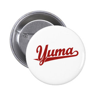 Yuma script logo in red 2 inch round button
