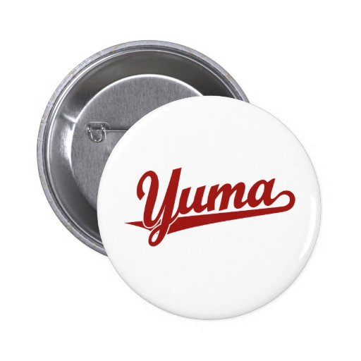 Yuma script logo in red pinback buttons