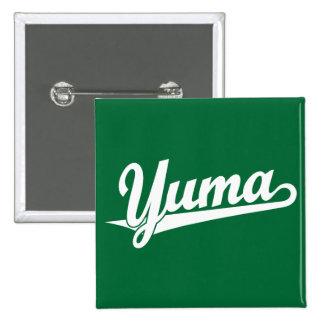 Yuma script logo in white buttons