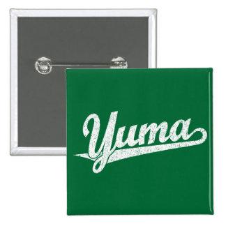 Yuma script logo in white distressed 2 inch square button