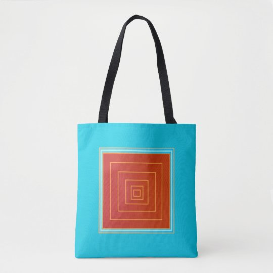 Yummy Aqua and Orange/Red Centre >Trendy Tote Bags