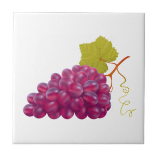 Yummy Bunch Of Red Grapes Tile