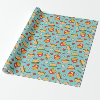 Yummy Cheeseburgers & French Fries Wrapping Paper