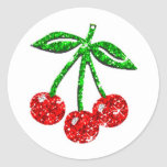YUMMY CHERRIES GLITTER GRAPHICS FOODS FRUITS ROUND STICKER