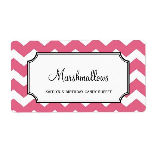 Yummy chevron pink custom candy buffet jar bulk shipping labels