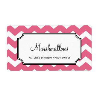 Yummy chevron pink custom candy buffet jar bulk shipping label