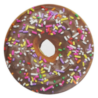 Yummy Chocolate Sprinkles Donuts - full sized Party Plates
