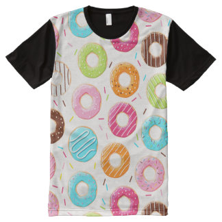 Yummy colorful sprinkles donuts toppings pattern