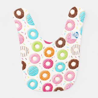 Yummy colorful sprinkles donuts toppings pattern bib