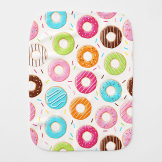 Yummy colorful sprinkles donuts toppings pattern burp cloth