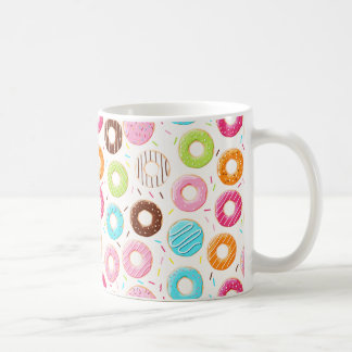 Yummy colorful sprinkles donuts toppings pattern coffee mug