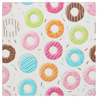 Yummy colorful sprinkles donuts toppings pattern fabric