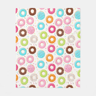 Yummy colorful sprinkles donuts toppings pattern fleece blanket