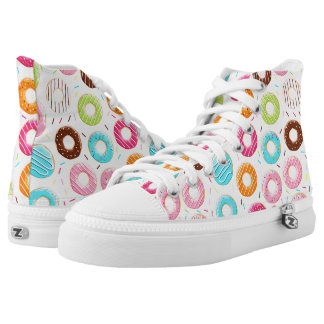 Yummy colorful sprinkles donuts toppings pattern high tops