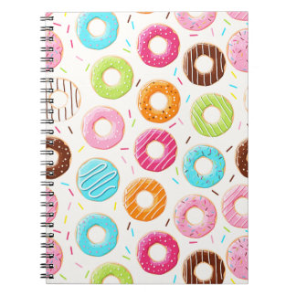Yummy colorful sprinkles donuts toppings pattern notebooks