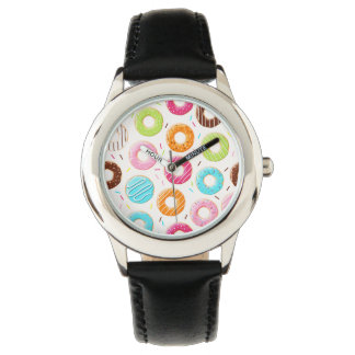 Yummy colorful sprinkles donuts toppings pattern watch