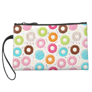 Yummy colorful sprinkles donuts toppings pattern wristlet