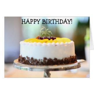 Yummy Cream Cake on Happy Birthday Card