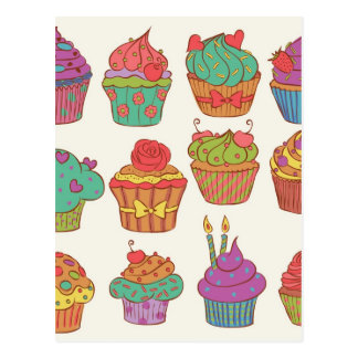 Yummy cumpcakes set postcard