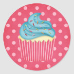 yummy cupcake round stickers
