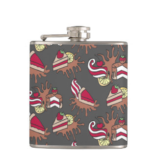 Yummy doodle cupcake pattern. hip flask