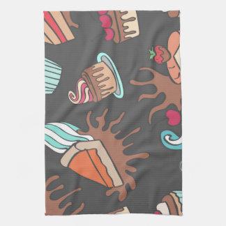 Yummy doodle cupcake pattern. kitchen towel