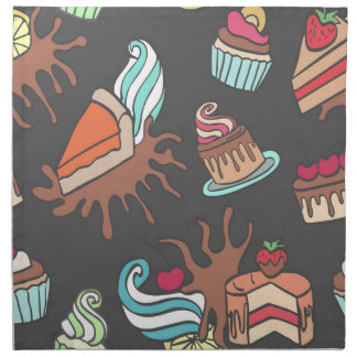 Yummy doodle cupcake pattern. napkin