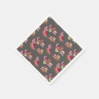 Yummy doodle cupcake pattern. paper napkin