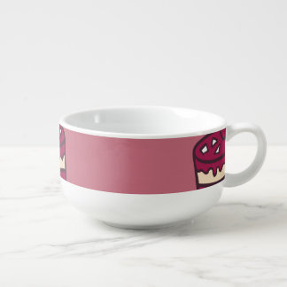 Yummy doodle cupcake pattern. soup bowl with handle