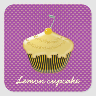 yummy lemon cupcake square sticker