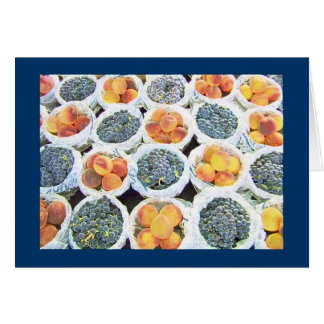 Yummy Peaches and Grapes in the Market Display Card