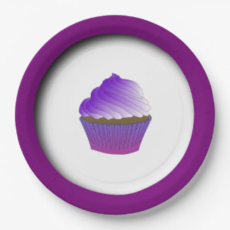 Yummy Purple Cupcake Personalized 9 Inch Paper Plate