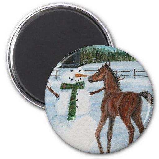 Yummy Snowman Foal Christmas Fridge Magnet