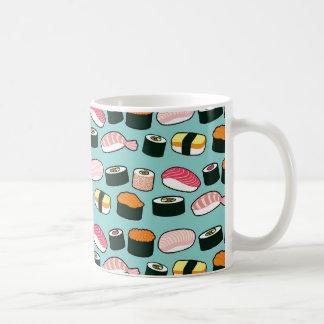 Yummy Sushi Fun Illustrated Pattern Coffee Mug