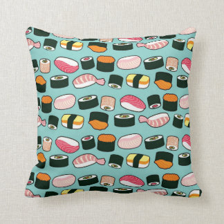 Yummy Sushi Fun Illustrated Pattern Throw Pillow