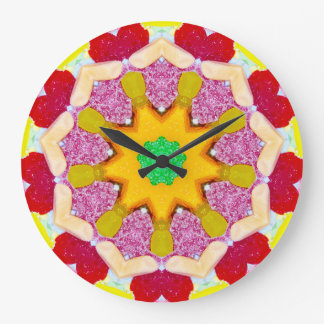 Yummy Sweet Candy Fractal Large Clock