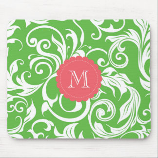 Yummy Watermelon Green Monogram Floral Wallpaper Mouse Pad