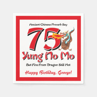 Yung No Mo 75th Birthday Disposable Napkins