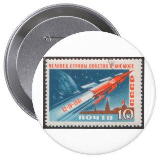 Yuri Gagarin Vostok 1 is 1st Man in Space 4 Inch Round Button
