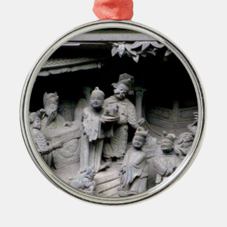 Yuyuan Garden Carving Silver-Colored Round Ornament
