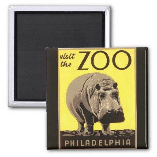 Z00 - Hippo Square Magnet