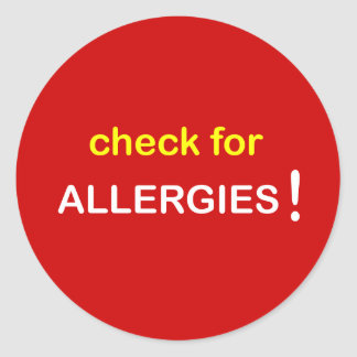 z87 - Check for Allergies. Classic Round Sticker