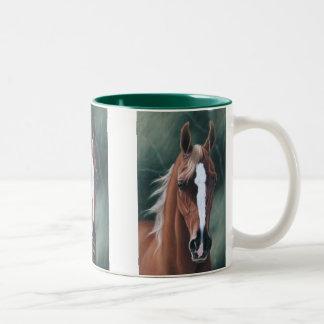 Z Arabian horse portrait Two-Tone Coffee Mug
