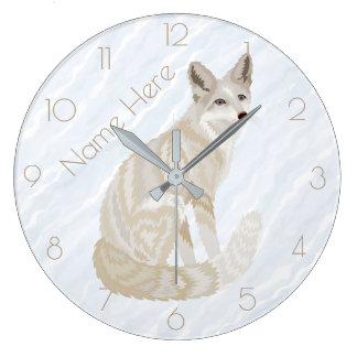 Z Arctic Fox Retro Chic Gray Tan Optional Numbers Large Clock