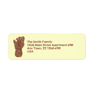 Z Bigfoot Sasquatch Track Geeky Mailing Supplies Return Address Label