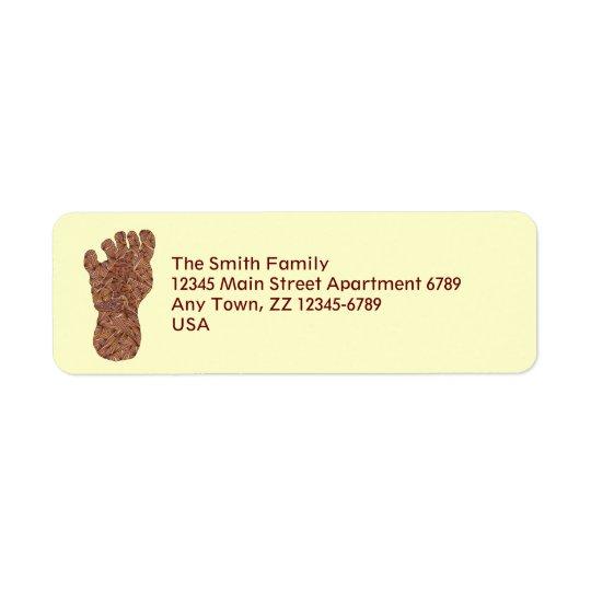 Z Bigfoot Sasquatch Track Geeky Mailing Supplies Return Address Label
