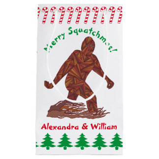 Z Bigfoot Walking Sasquatch Christmas Candy Canes Small Gift Bag